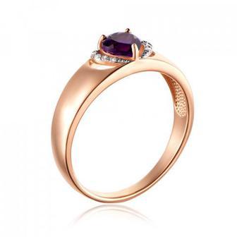 Золотое кольцо с аметистом и фианитами. Артикул 530240/01/1/5617