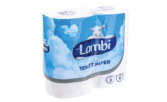 Папір туалетний Білий тришаровий Ламбі 4шт в упаковці