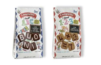 Печиво 1-2-3 злакове з шоколадом/А-В-С зі злаками,какао та дробленим фундуком Campiello Biscotti 300 г