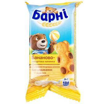 БІСКВІТ молоко, шоколад, банан, 30 г БАРНІ