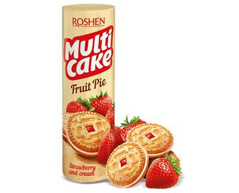 Печиво Roshen Multicake з начинкою полуниця та крем, 195г