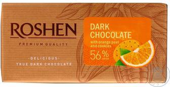 Шоколад чорний Roshen з апельсиновою цедрою та печивом 56% 90г