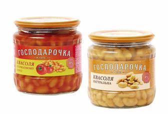 КВАСОЛЯ натуральна, в томатному соусі, 450 г ГОСПОДАРОЧКА