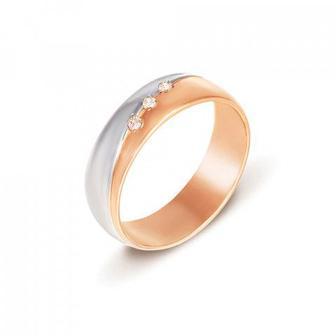 Обручальное кольцо с фианитами. Артикул 1019