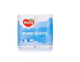 Туалетная бумага Ruta Pure White белая 3 слоя 4 рул