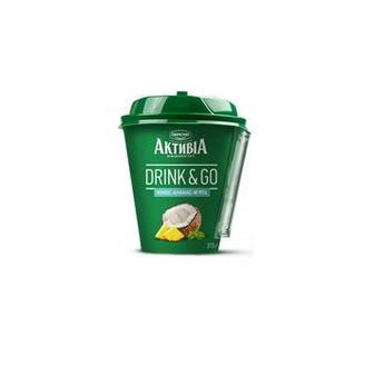 Біфідойогурт Drink&Go кокос, м'ята, ананас 1.5%, Активія, 315г