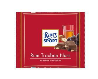 Шоколад Ritter Sport ром, родзинки та горіхи, 100г