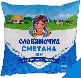 "Сметана 15% ""Слов'яночка, 0,380кг"