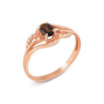 Золотое кольцо с раухтопазом и фианитами. Артикул 530149/раух