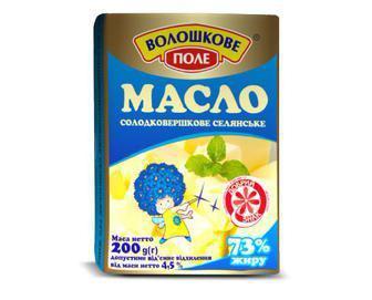 Масло солодковершкове Селянське 73%  Волошкове поле 200г