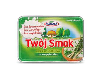 Сир Piatnica Twoj Smak вершковий 64% жиру, з зеленою цибулею, 135г
