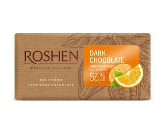 Шоколад чорний з апельсиновою цедрою та печивом 56% 90г