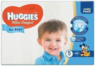 Подгузники Huggies Ultra Comfort Jumbo р.5 (12-22 кг) для мальчиков 42 шт
