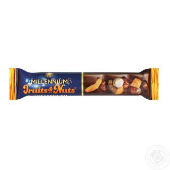 Шоколад молочный Millennium Fruits&Nuts с миндалем, целыми лесными орехами, курагой и изюмом 50г
