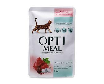 Корм для дорослих котів Optimeal, телятина в журавлинному соусі, 85г