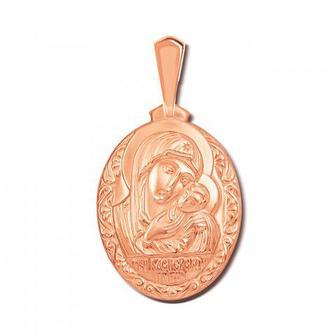 Золотая подвеска-иконка «Касперовская икона Божией Матери».