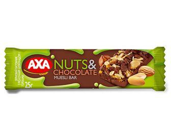 Батончик АХА зерновий з молочним шоколадом та горіхами, 25г