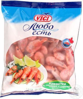Креветки в панцирі варено-морожені Vici 500г