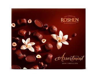 Скидка 24% ▷ Цукерки Roshen Assortment чорний шоколад, 154г