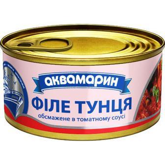 Тунець філе обсмажений в томатному соусі 185г Аквамарин