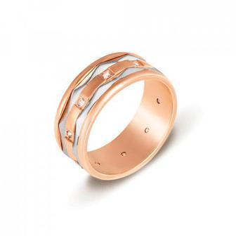 Обручальное кольцо комбинированное с фианитами. Артикул 1054