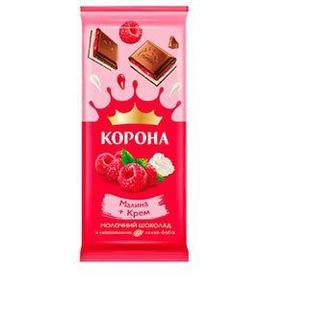 Шоколад молочный с малиновой и кремовой начинками Корона, 85г
