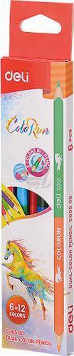 Олівці кольорові Color Run EС00500 6 шт. 12 кольорів двосторонні Deli
