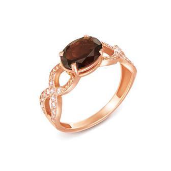 Скидка 50% ▷ Золотое кольцо с раухтопазом и фианитами. Артикул 50184/раух с