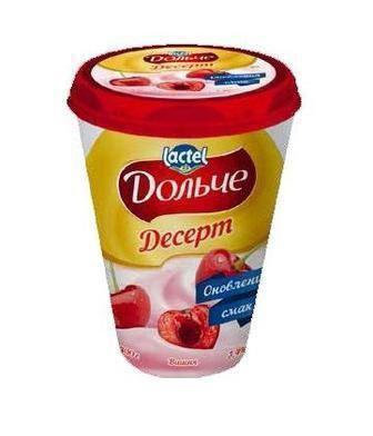 Десерт Дольче Полуниця-ківі, Банан, Персик, Вишня з шоколадом 3,4% 400г