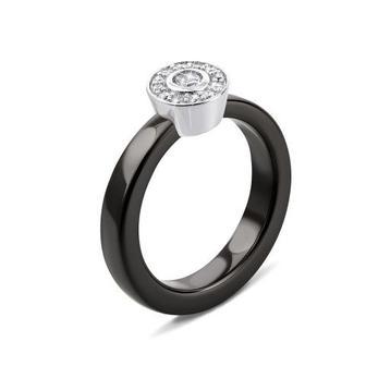 Скидка 10% ▷ Серебряное кольцо с керамикой и фианитами. Артикул К2ФК/1011-16