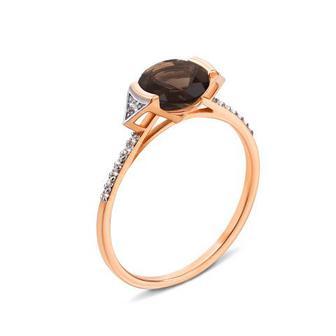 Золотое кольцо с раухтопазом и фианитами (530198/01/1/5494)