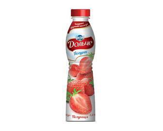 Йогурт 2,5% зі смаком персика або полуниці Дольче 500 г