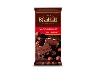 Шоколад екстрачорний з цілими лісовими горіхами, Roshen, 90 г