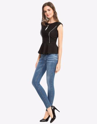 БЛУЗКА С БАСКОЙ И КОНТРАСТНОЙ ОКАНТОВКОЙ Gloria Jeans АРТИКУЛ: GTS008449
