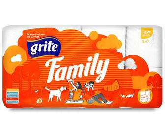 Папір туалетний Grite Family, 8рулонів/уп