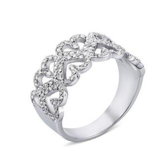 Серебряное кольцо с фианитами (00633/12/1/1 (с00633)