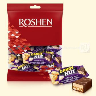 Цукерки Candy Nut нуга і м'яка карамель з арахісом та хрустким рисом Рошен 203г