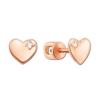 Золотые пуссеты «Сердце» с фианитами