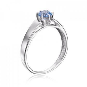 Золотое кольцо с фианитом Swarovski. Артикул 12156/02/1/1364