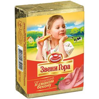 Сир плавлений Звенигора 45% зі смаком бекону 90г