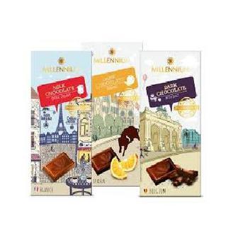 Шоколад Discover Europe  чорний з сіллю, Orange чорний 74% молочний Millennium 100г