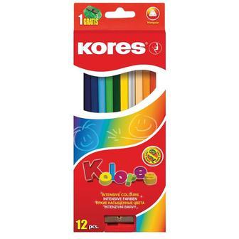 Карандаши цветные Kores 12 цветов трехгранные с точилкой