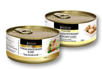 Консерви тунець шматочками у власному соку/ в олії De Luxe Foods&Goods Selected 185 г