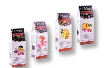 Чай суміш чорного та зеленого зі шматочками маракуйі/ з додаванням сушених квіткових пелюсток/з ванільно-полуничним ароматом/ зелений з цитрусом та пелюстками квітів De Luxe Foods&Goods Selected 80 г