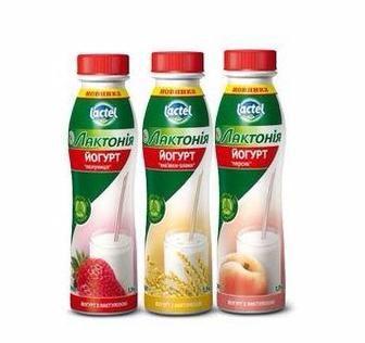 Йогурт з наповнювачем Полуниця, Персик, Висівки-злаки з лактулозою 1.5% Лактонія Lactel 0,290л