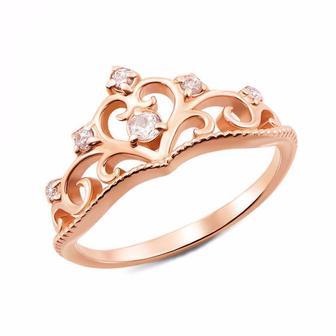 Золотое кольцо Корона с фианитами. Артикул 12337