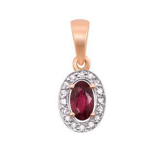 Золотая подвеска с рубином и бриллиантами.