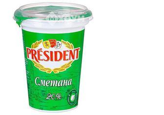 Сметана 20%, стакан, 350г, President