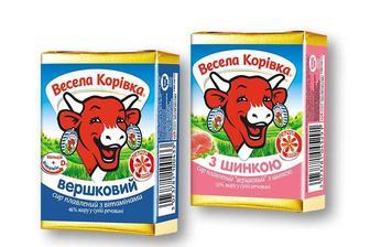 Сир плавлений Вершковий 46% / З шинкою 50% Весела Корівка 90 г