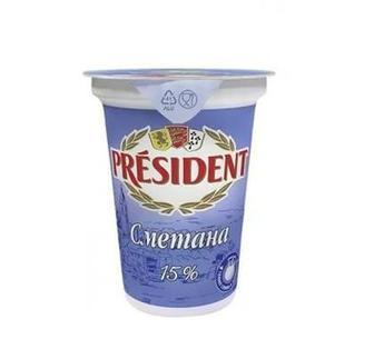 Сметана 15% President, 350 г